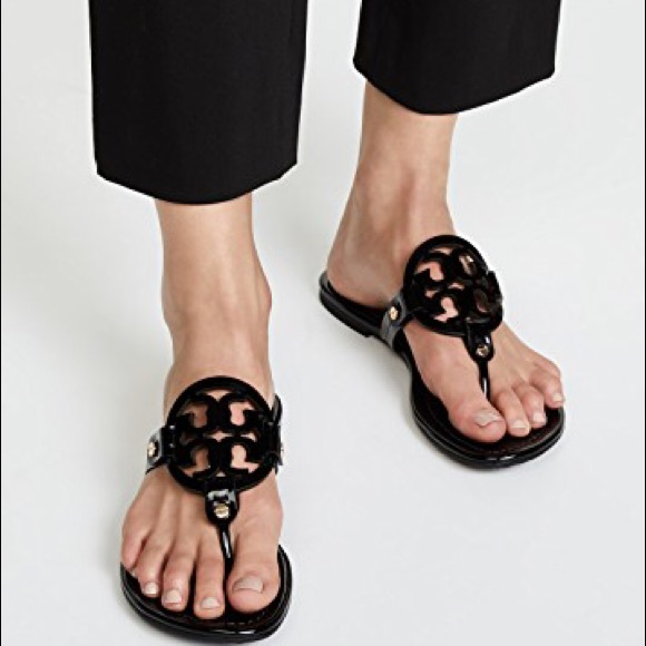 e7912baa24ec9 Tory Burch Miller black patent leather Sandals 8.5.  M 5b40c75a409c15f887c0b24a